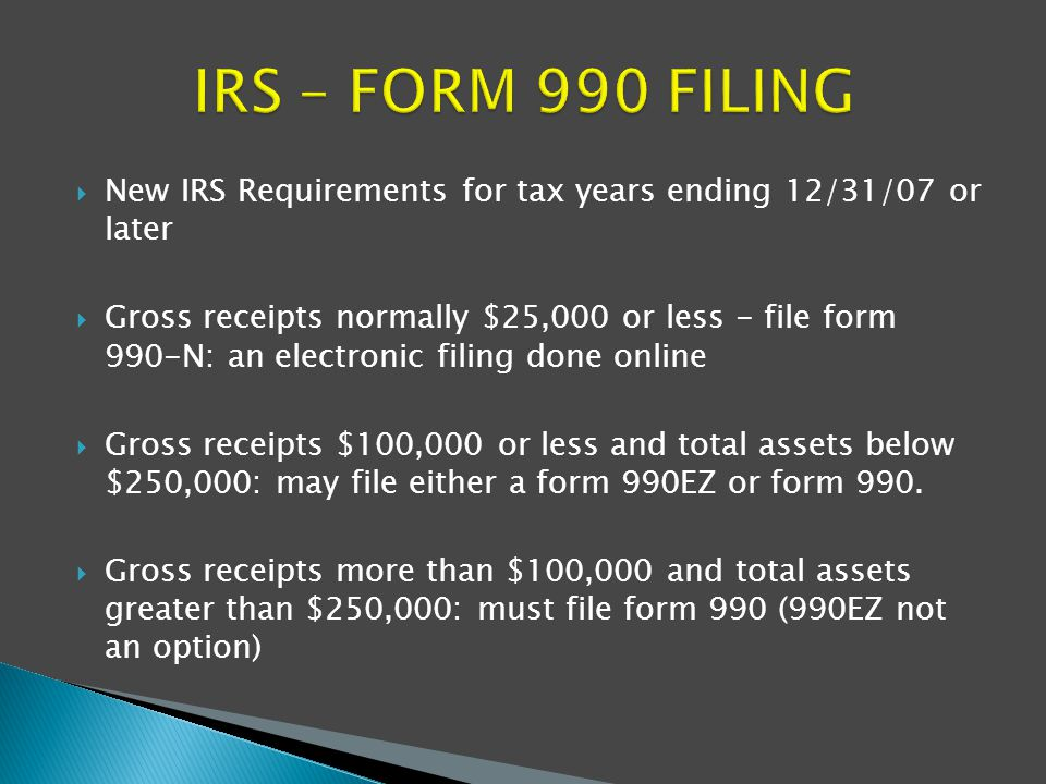 Finances / Collections.  New IRS Requirements for tax years ...