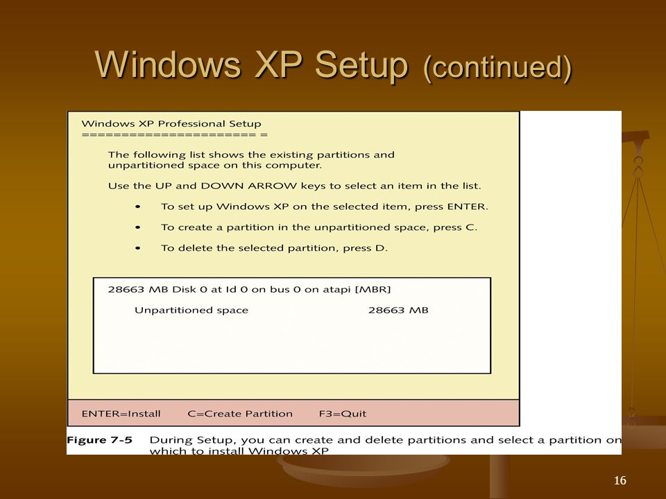 16 Windows XP Setup (continued)