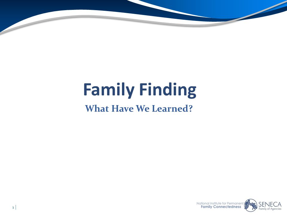 Family Finding What Have We Learned 1 Agenda Opening – Family Agenda