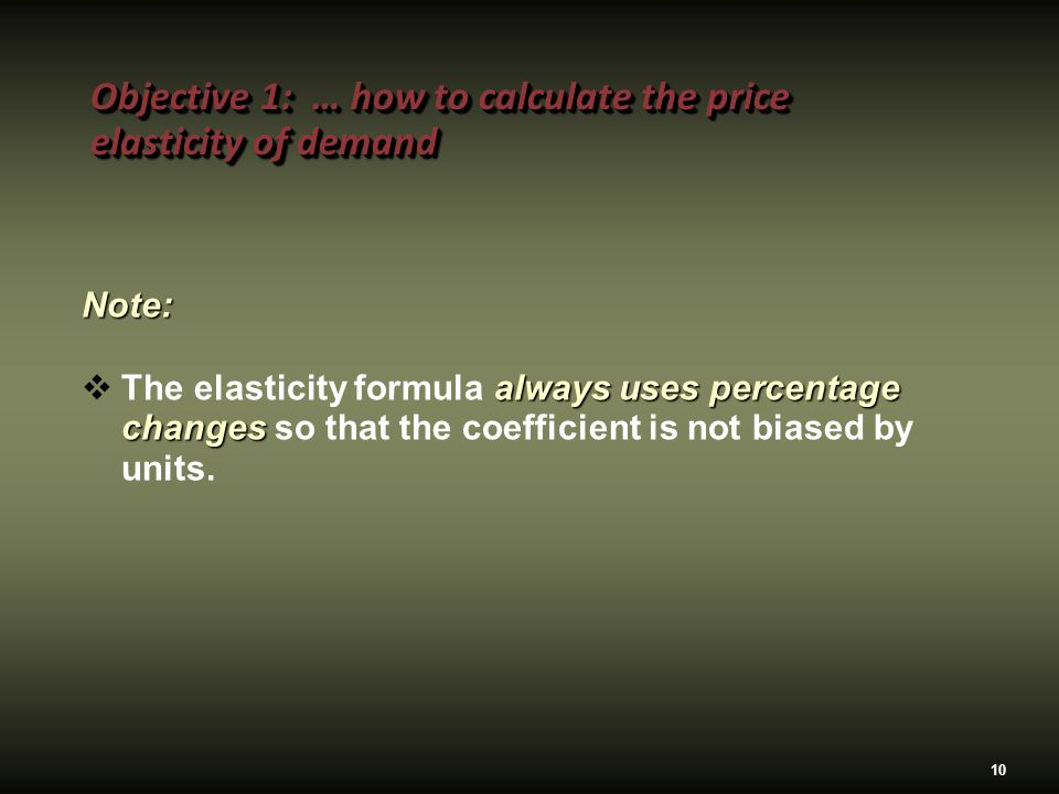 Why do we use percentages to calculate elasticity?