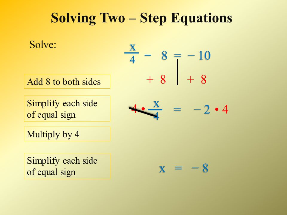 Solving Two – Step Equations 2x + 5 = − 15 Check your solution for accuracy: x = − 10 Simplify the left side of the equal sign.