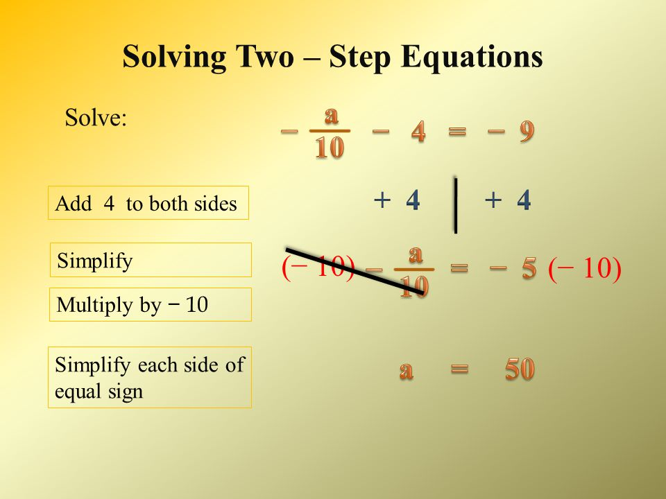 Solving Two – Step Equations Add 19 to both sides Divide by − 7 _______ _______ − 7 − 7 Simplify Solve: Simplify each side of equal sign