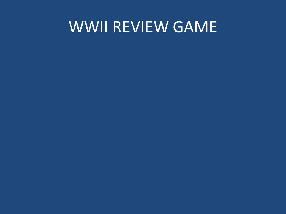 WWII REVIEW GAME