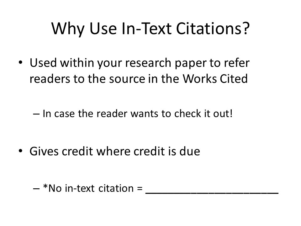 in text citations for research papers