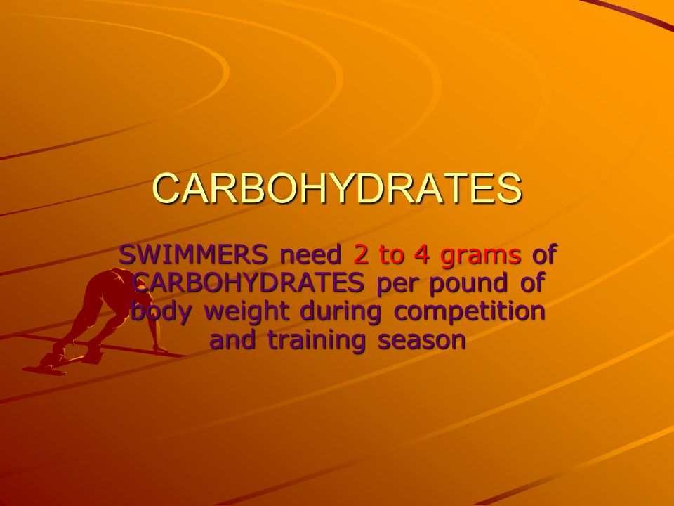 CARBOHYDRATES SWIMMERS need 2 to 4 grams of CARBOHYDRATES per pound of body weight during competition and training season