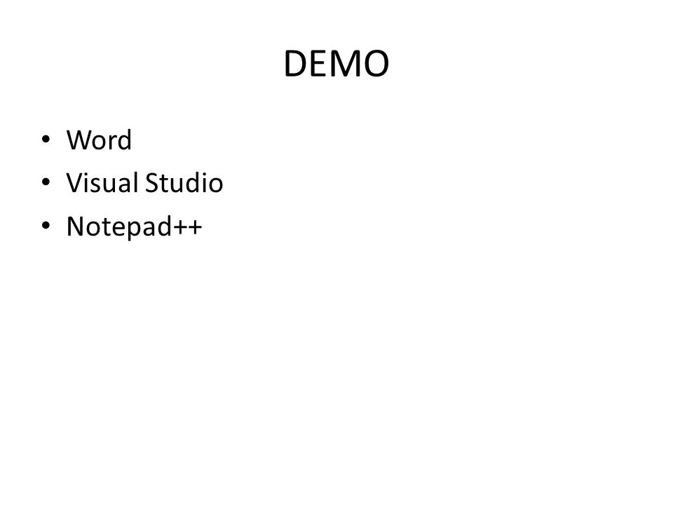 DEMO Word Visual Studio Notepad++