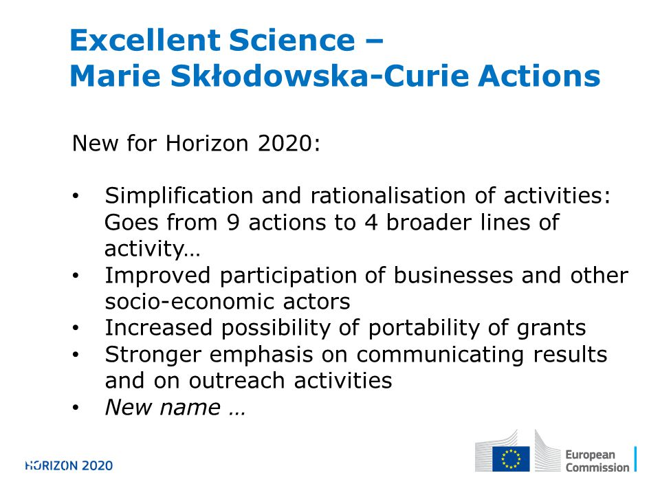 Excellent Science – Marie Skłodowska-Curie Actions Horizon 2020 New for Horizon 2020: Simplification and rationalisation of activities: Goes from 9 actions to 4 broader lines of activity… Improved participation of businesses and other socio-economic actors Increased possibility of portability of grants Stronger emphasis on communicating results and on outreach activities New name …