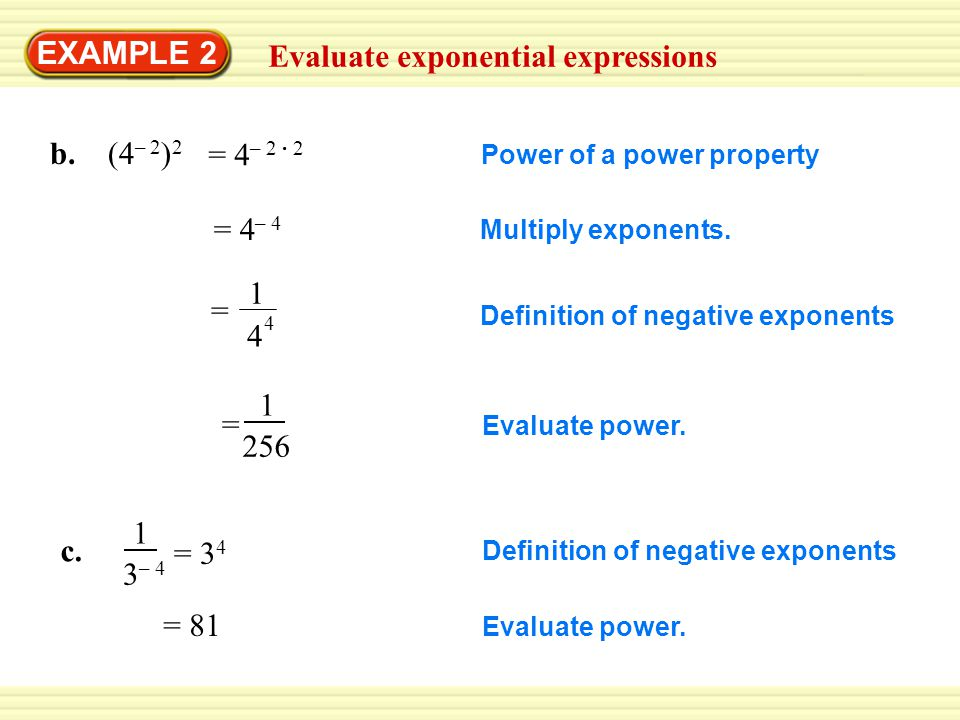 EXAMPLE 2 Evaluate exponential expressions = Evaluate power.