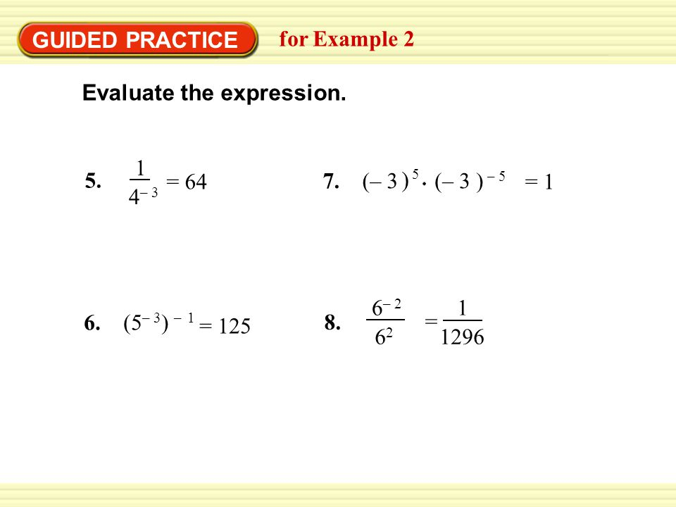 GUIDED PRACTICE for Example – 3 = 64 Evaluate the expression.