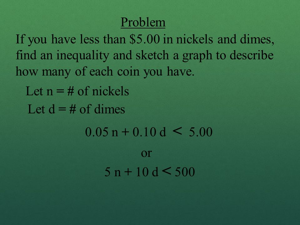 Problem If you have less than $5.00 in nickels and dimes, find an inequality and sketch a graph to describe how many of each coin you have.
