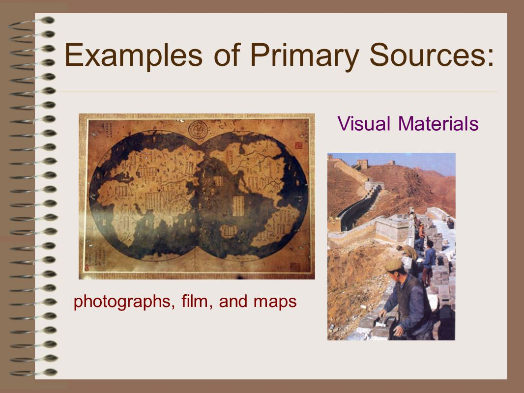 Examples of Primary Sources: Visual Materials photographs, film, and maps