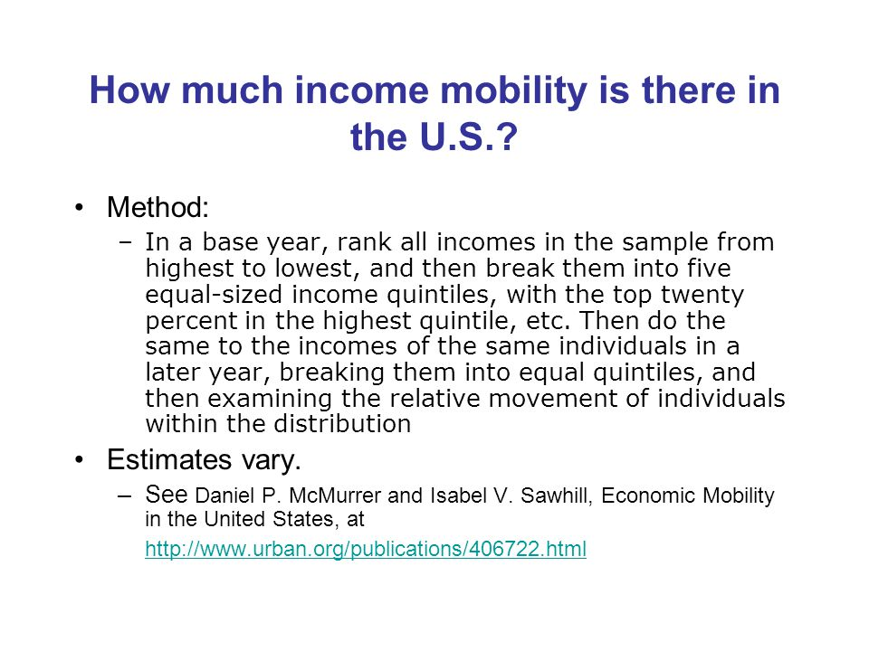 How much income mobility is there in the U.S..
