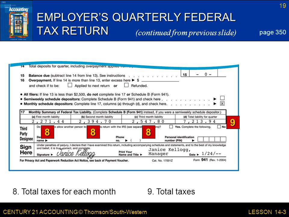 CENTURY 21 ACCOUNTING © Thomson/South-Western 19 LESSON 14-3 EMPLOYER'S QUARTERLY FEDERAL TAX RETURN page 350 (continued from previous slide)