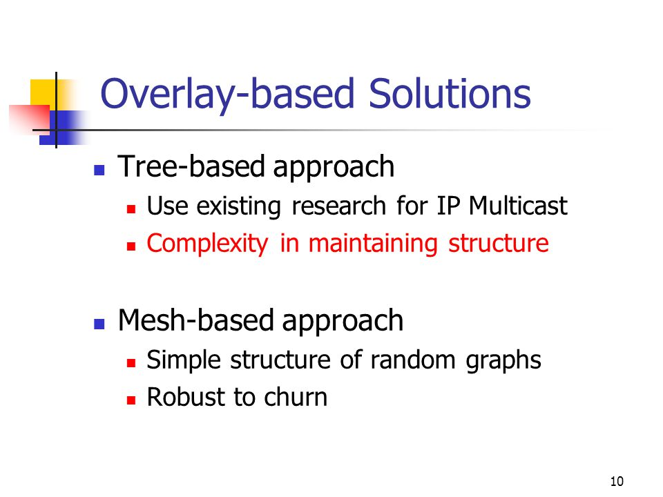 10 Overlay-based Solutions Tree-based approach Use existing research for IP Multicast Complexity in maintaining structure Mesh-based approach Simple structure of random graphs Robust to churn