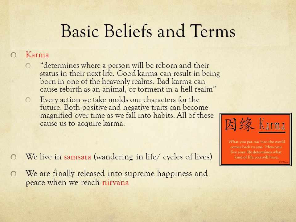 Basic Beliefs and Terms Karma determines where a person will be reborn and their status in their next life.