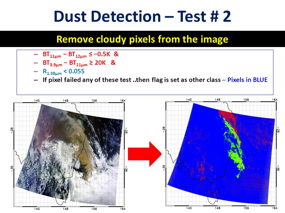 Dust Detection – Test # 2 Remove cloudy pixels from the image – BT 11μm − BT 12μm ≤ −0.5K & – BT 3.9μm − BT 11μm ≥ 20K & – R 1.38μm < – If pixel failed any of these test..then flag is set as other class – Pixels in BLUE