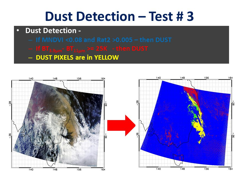 Dust Detection – Test # 3 Dust Detection - – If MNDVI – then DUST – If BT 3.9μm - BT 11μm >= 25K - then DUST – DUST PIXELS are in YELLOW