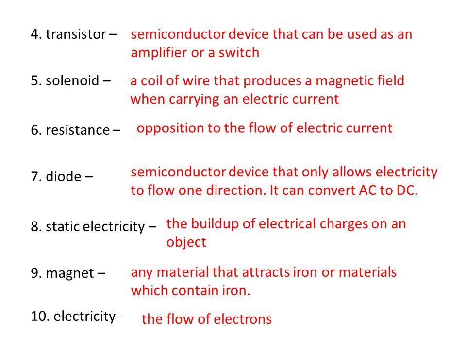 4. transistor – 5. solenoid – 6. resistance – 7.