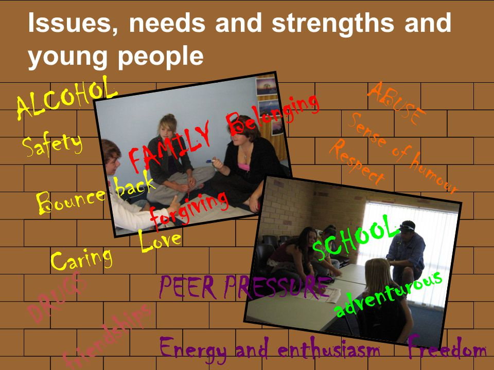 Issues, needs and strengths and young people DRUGS friendships ALCOHOL Safety Bounce back Caring Love PEER PRESSURE Energy and enthusiasm Freedom SCHOOL adventurous FAMILY Belonging forgiving ABUSE Sense of humour Respect