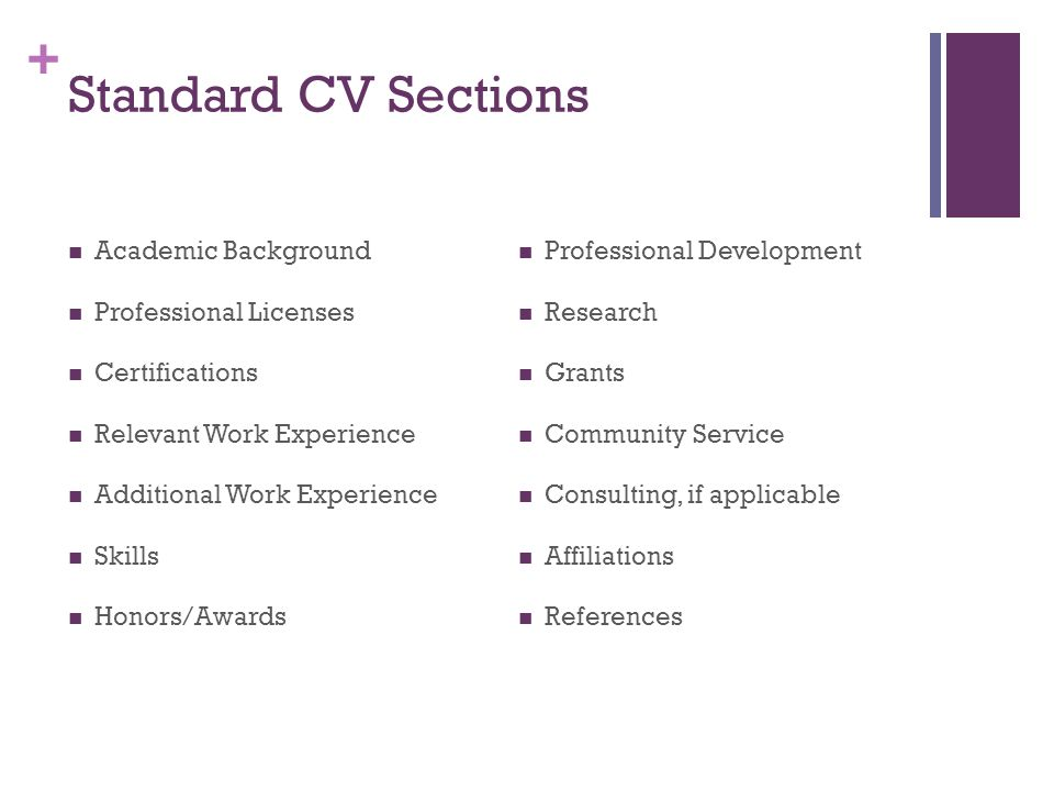 + Standard CV Sections Academic Background Professional Licenses Certifications Relevant Work Experience Additional Work Experience Skills Honors/Awards Professional Development Research Grants Community Service Consulting, if applicable Affiliations References