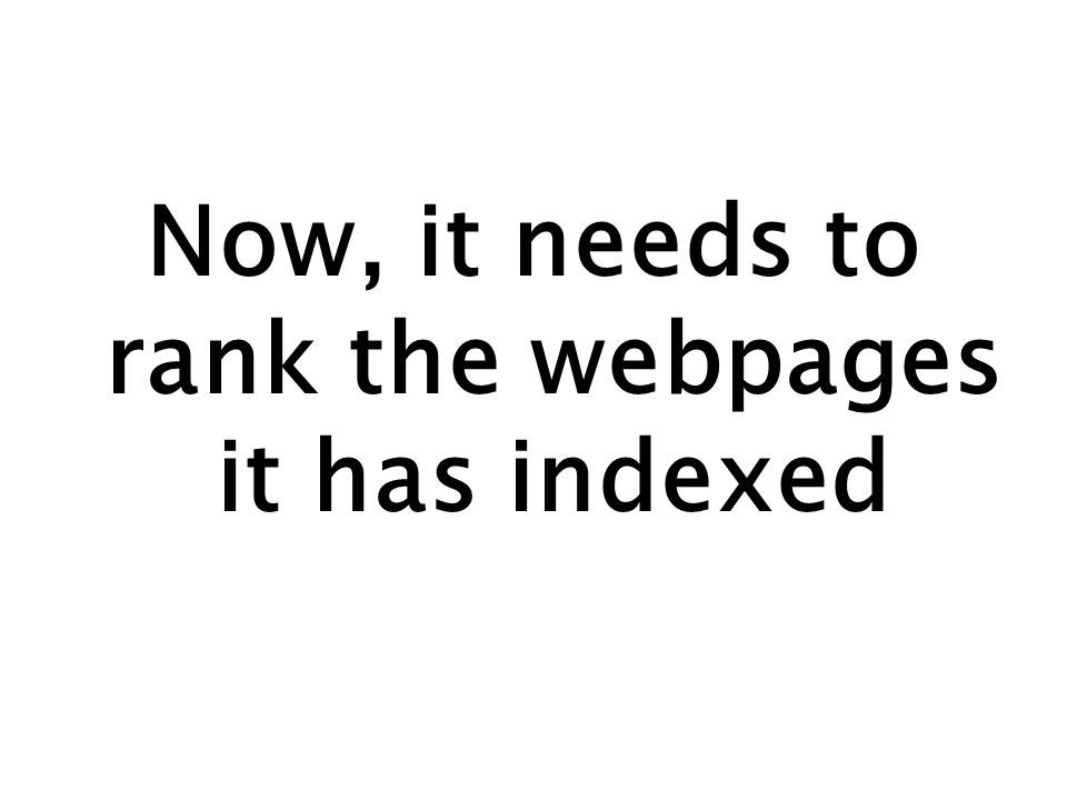 Now, it needs to rank the webpages it has indexed