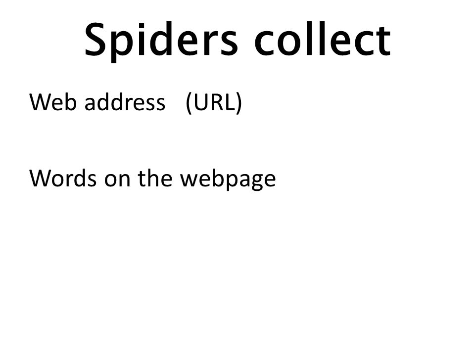 Spiders collect Web address (URL) Words on the webpage