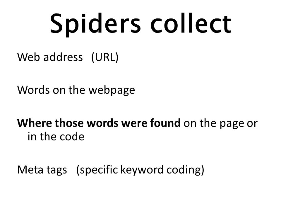 Spiders collect Web address (URL) Words on the webpage Where those words were found on the page or in the code Meta tags (specific keyword coding)