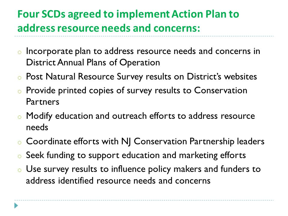 Four SCDs agreed to implement Action Plan to address resource needs and concerns: o Incorporate plan to address resource needs and concerns in District Annual Plans of Operation o Post Natural Resource Survey results on District's websites o Provide printed copies of survey results to Conservation Partners o Modify education and outreach efforts to address resource needs o Coordinate efforts with NJ Conservation Partnership leaders o Seek funding to support education and marketing efforts o Use survey results to influence policy makers and funders to address identified resource needs and concerns