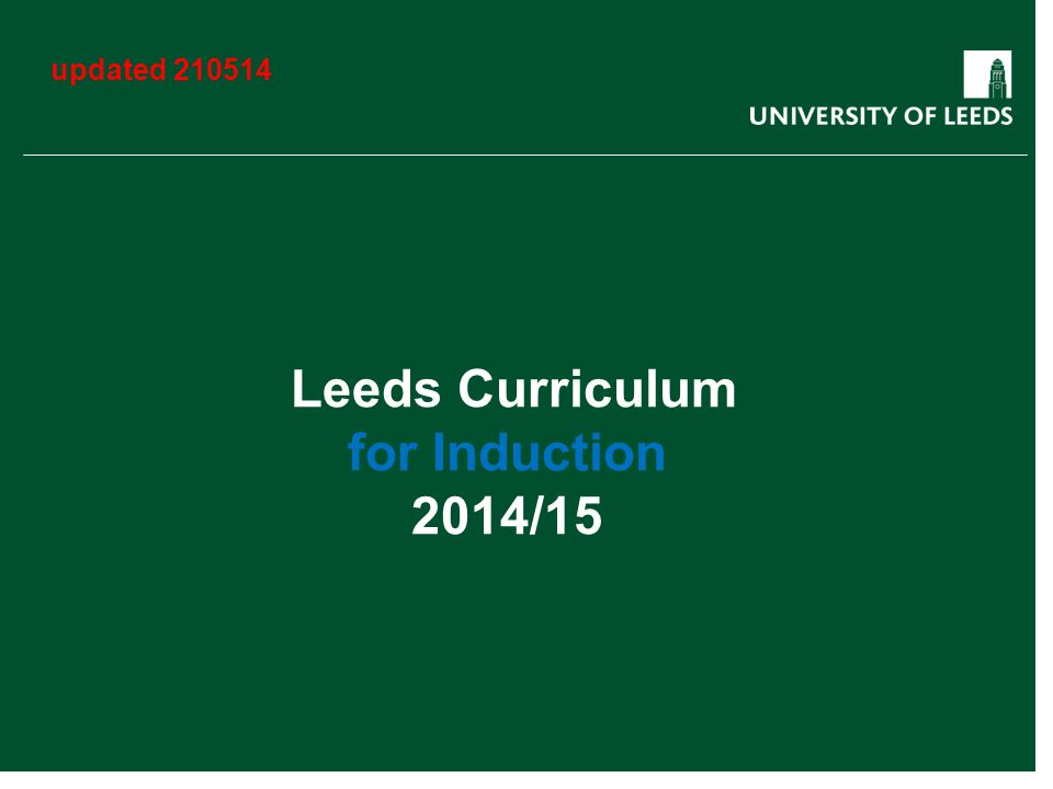 Leeds Curriculum for Induction 2014/15 updated