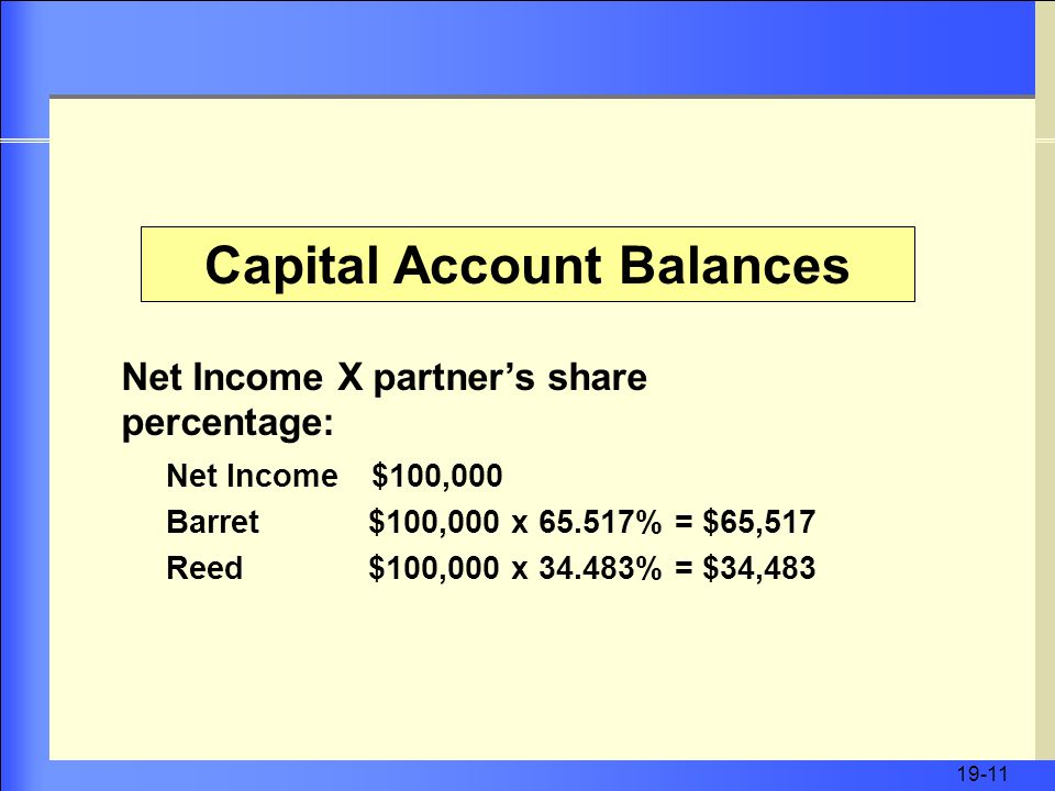 19-11 Capital Account Balances Net Income X partner's share percentage: Net Income $100,000 Barret $100,000 x % = $65,517 Reed $100,000 x % = $34,483