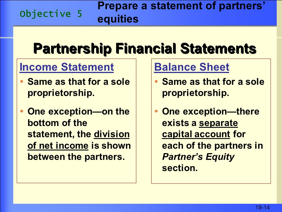 19-14 Partnership Financial Statements Income Statement  Same as that for a sole proprietorship.