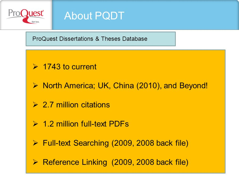 proquest dissertations full text We now have access to proquest's dissertations & theses, fulltext proquest dissertations and together with 12 million full text dissertations that are.