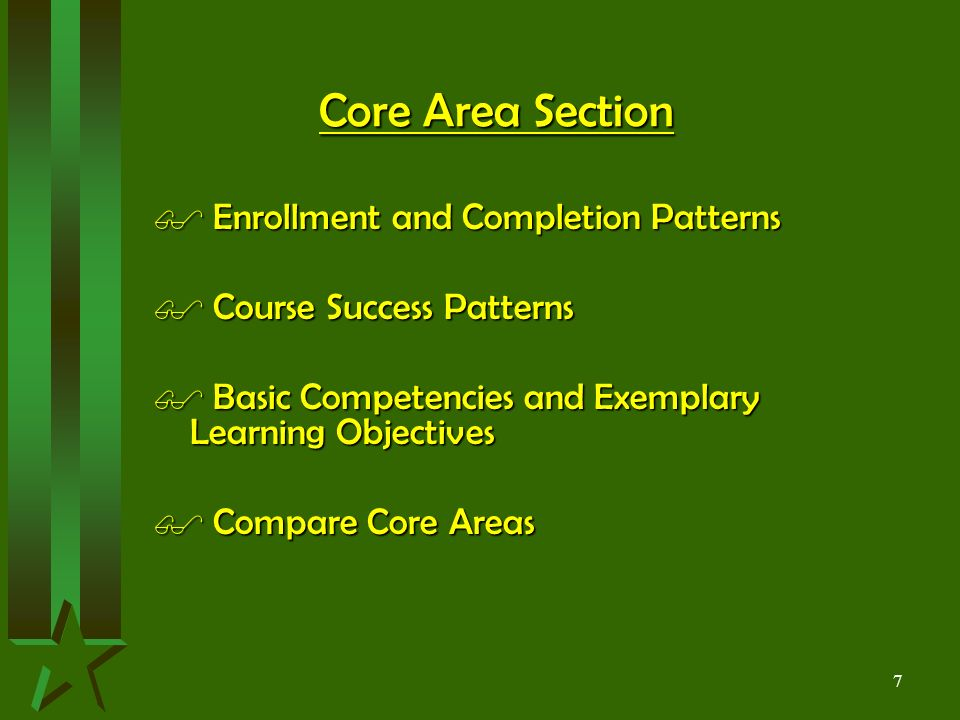 7 Core Area Section $ Enrollment and Completion Patterns $ Course Success Patterns $ Basic Competencies and Exemplary Learning Objectives $ Compare Core Areas