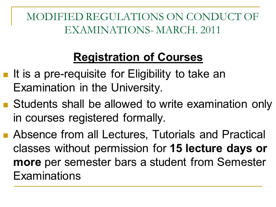 MODIFIED REGULATIONS ON CONDUCT OF EXAMINATIONS- MARCH.
