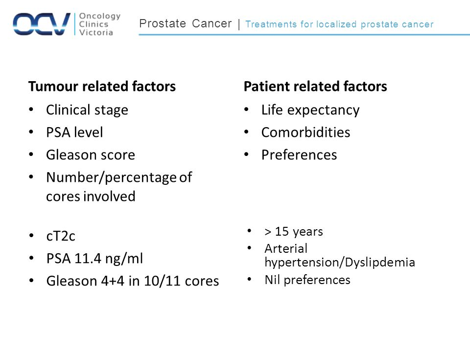 Prostate Cancer | Treatments for localized prostate cancer Tumour related factors Clinical stage PSA level Gleason score Number/percentage of cores involved Patient related factors Life expectancy Comorbidities Preferences cT2c PSA 11.4 ng/ml Gleason 4+4 in 10/11 cores > 15 years Arterial hypertension/Dyslipdemia Nil preferences