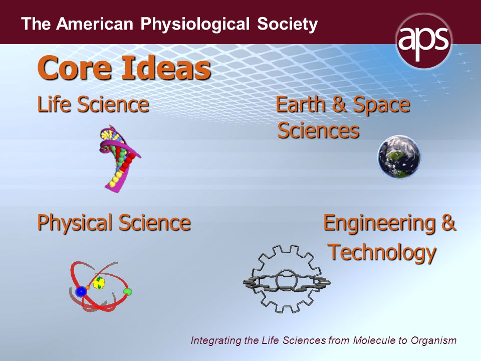 Integrating the Life Sciences from Molecule to Organism The American Physiological Society Core Ideas Life Science Earth & Space Sciences Physical Science Engineering & Technology Technology