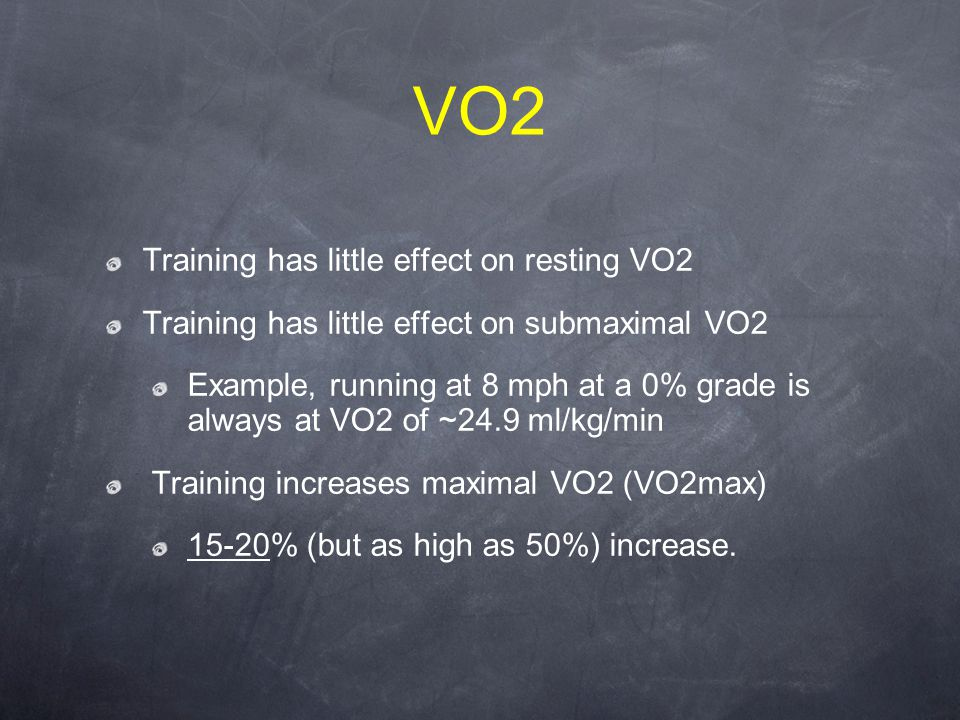 VO2 Training has little effect on resting VO2 Training has little effect on submaximal VO2 Example, running at 8 mph at a 0% grade is always at VO2 of ~24.9 ml/kg/min Training increases maximal VO2 (VO2max) 15-20% (but as high as 50%) increase.