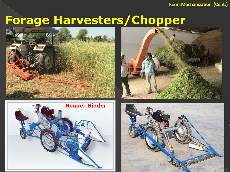 Forage Harvesters/Chopper Reaper Binder Farm Mechanization (Cont.)