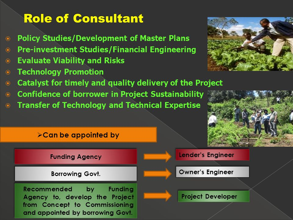  Policy Studies/Development of Master Plans  Pre-investment Studies/Financial Engineering  Evaluate Viability and Risks  Technology Promotion  Catalyst for timely and quality delivery of the Project  Confidence of borrower in Project Sustainability  Transfer of Technology and Technical Expertise  Can be appointed by Recommended by Funding Agency to, develop the Project from Concept to Commissioning and appointed by borrowing Govt.