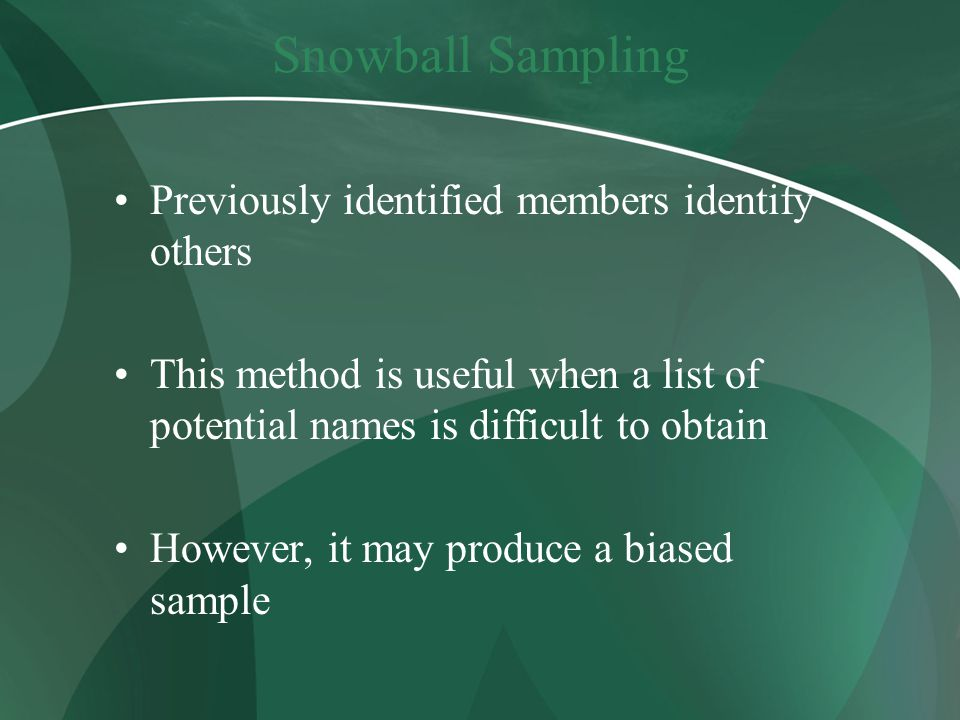 Snowball Sampling Previously identified members identify others This method is useful when a list of potential names is difficult to obtain However, it may produce a biased sample