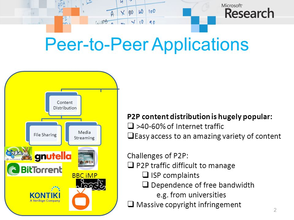 Peer-to-Peer Applications Peer-to-Peer Content Distribution File Sharing Media Streaming Collaboration Distributed Computing TelephonyPlatforms BBC iMP SETI@Home.NET (PeerChannel, WCF) JXTA P2P content distribution is hugely popular:  >40-60% of Internet traffic  Easy access to an amazing variety of content Challenges of P2P:  P2P traffic difficult to manage  ISP complaints  Dependence of free bandwidth e.g.