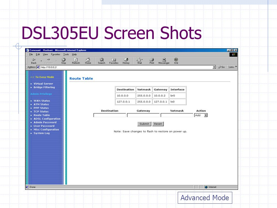 DSL305EU Screen Shots Advanced Mode