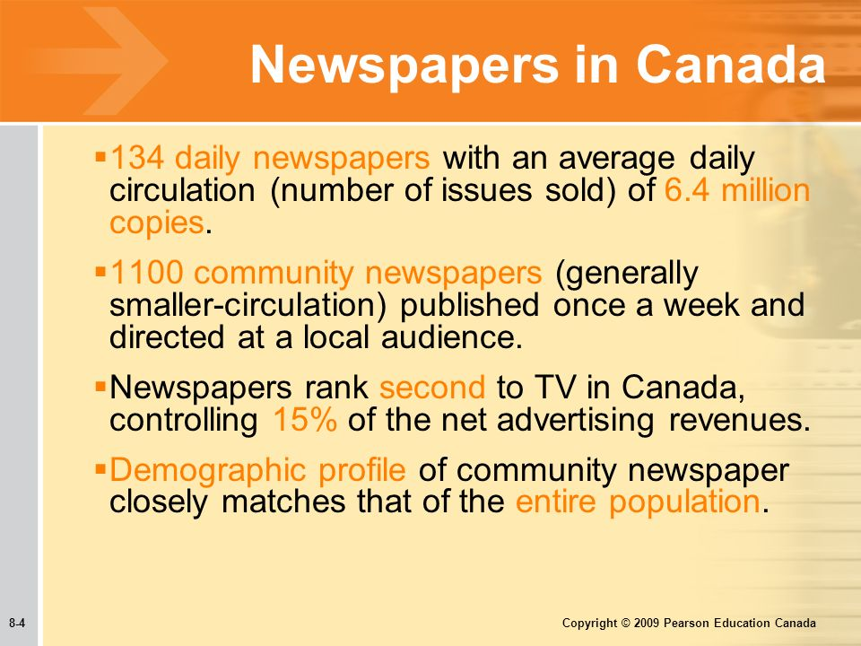 8-4 Copyright © 2009 Pearson Education Canada Newspapers in Canada  134 daily newspapers with an average daily circulation (number of issues sold) of 6.4 million copies.
