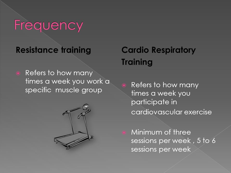 F.I.T.T Principle stands for: › Frequency › Intensity › Time › Type of your exercise  Used for both resistance training and cardio respiratory training