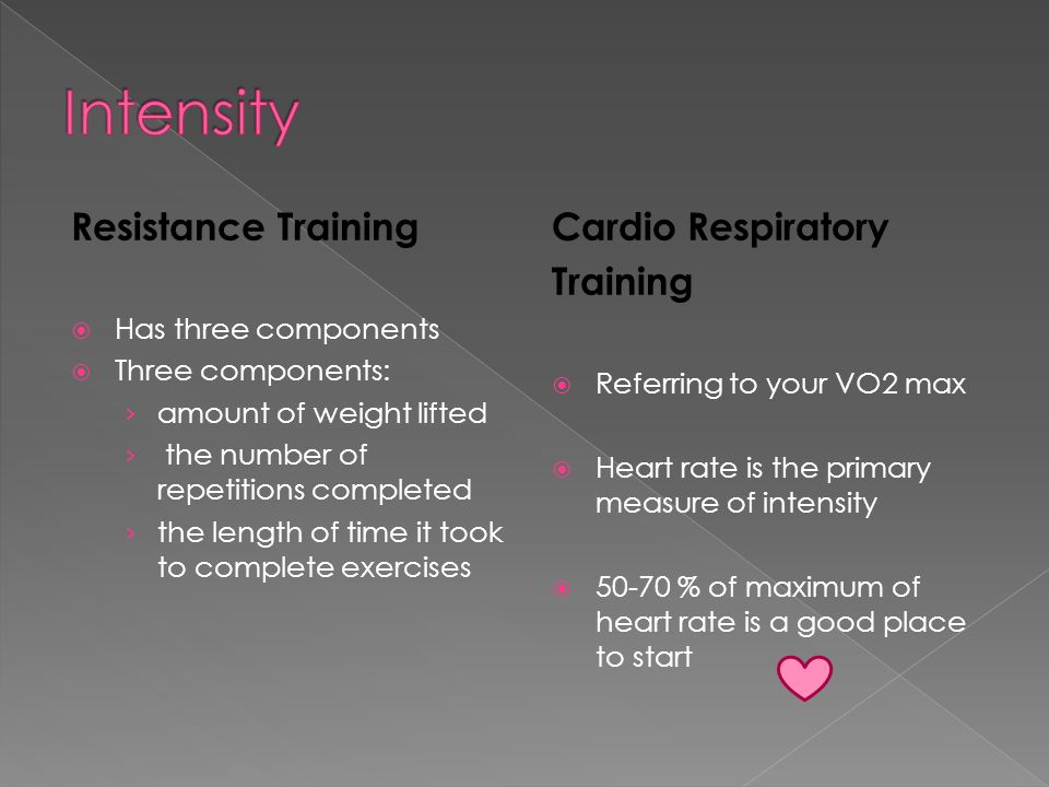 Resistance training  Refers to how many times a week you work a specific muscle group Cardio Respiratory Training  Refers to how many times a week you participate in cardiovascular exercise  Minimum of three sessions per week, 5 to 6 sessions per week