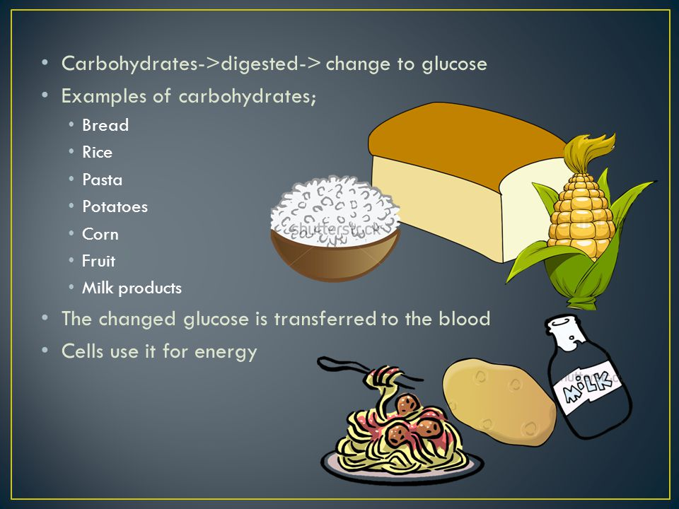 Carbohydrates->digested-> change to glucose Examples of carbohydrates; Bread Rice Pasta Potatoes Corn Fruit Milk products The changed glucose is transferred to the blood Cells use it for energy