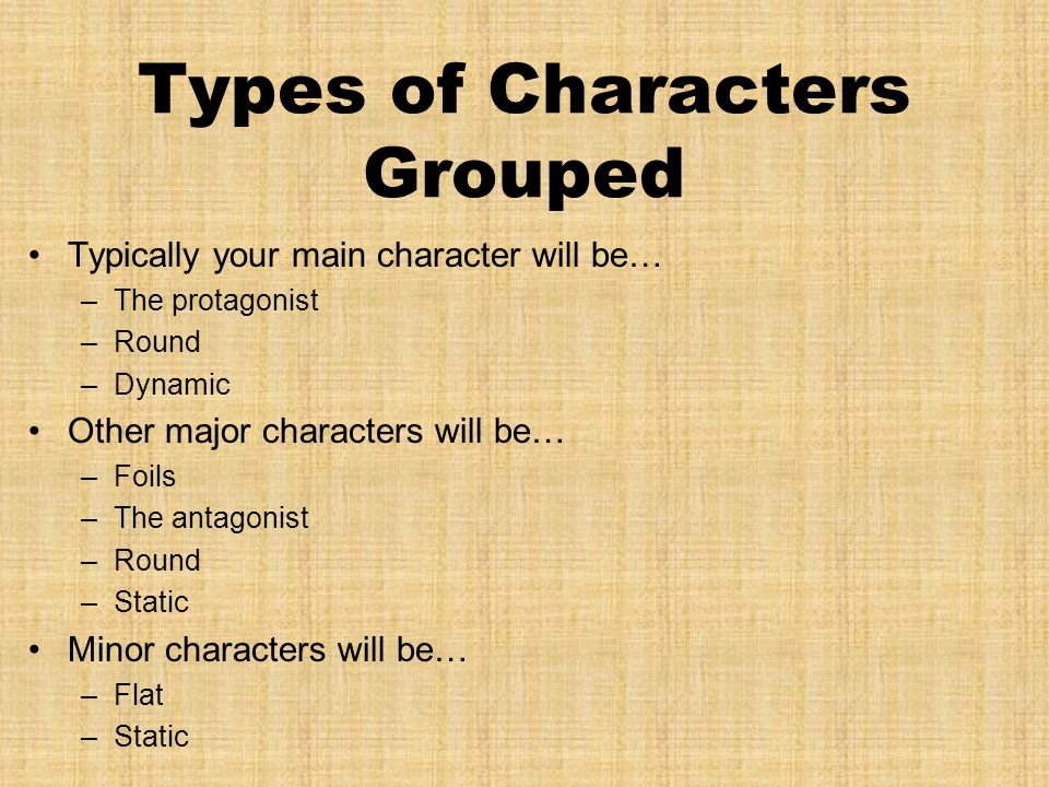 Types of Characters Grouped Typically your main character will be… –The protagonist –Round –Dynamic Other major characters will be… –Foils –The antagonist –Round –Static Minor characters will be… –Flat –Static