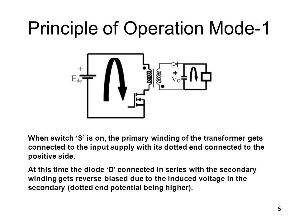 5 Principle of Operation Mode-1 When switch 'S' is on, the primary winding of the transformer gets connected to the input supply with its dotted end connected to the positive side.