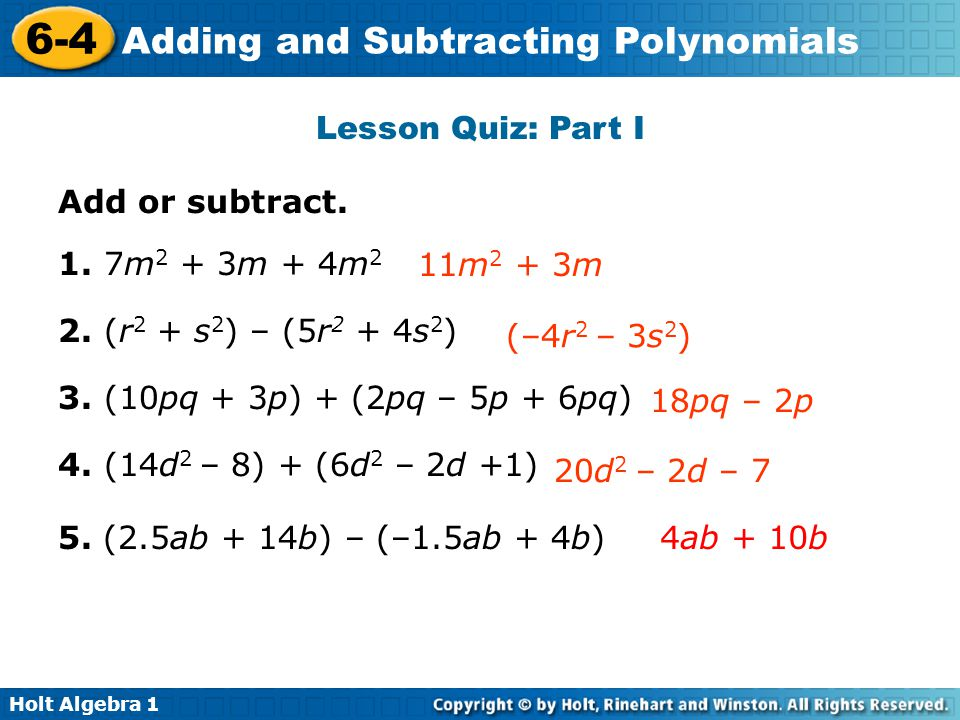 Adding and subtracting polynomials worksheet 1
