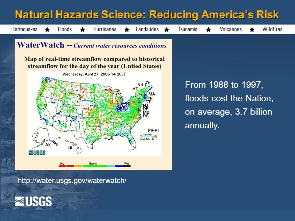 Natural Hazards Science: Reducing America's Risk   From 1988 to 1997, floods cost the Nation, on average, 3.7 billion annually.